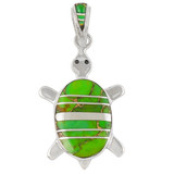 Turtle Green Turquoise Pendant Sterling Silver P3069-C06