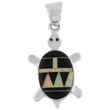 Turtle Black Opal Gemstone Pendant Sterling Silver P3069-C27