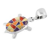 Turtle Multi Gemstone Pendant Sterling Silver P3069-C36