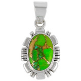 Green Turquoise Pendant Sterling Silver P3113-C76