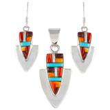 Multi Gemstone Pendant & Earrings Set Sterling Silver PE4001-C51