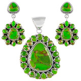 Green Turquoise Pendant & Earrings Set Sterling Silver PE4024-SM-C76