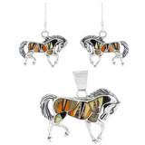 Horse Multi Gemstone Pendant & Earrings Set Sterling Silver PE4016-C39