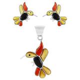 Hummingbird Multi Gemstone Pendant & Earrings Set Sterling Silver PE4019-C71