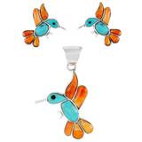 Hummingbird Multi Gemstone Pendant & Earrings Set Sterling Silver PE4019-C86