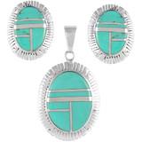 Turquoise Pendant & Earrings Set Sterling Silver PE4025-C05