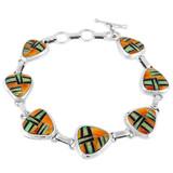 Multi Gemstone Link Bracelet Sterling Silver B5506-C25