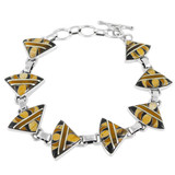 Tiger Eye Gemstone Link Bracelet Sterling Silver B5508-C33