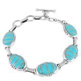 Turquoise Link Bracelet Sterling Silver B5509-C05