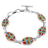 Multi Gemstone Link Bracelet Sterling Silver B5509-C51