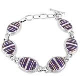 Purple Turquoise Link Bracelet Sterling Silver B5512-C07