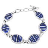 Lapis Link Bracelet Sterling Silver B5512-C12