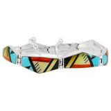 Multi Gemstone Link Bracelet Sterling Silver B5515-C02
