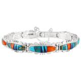 Multi Gemstone Link Bracelet Sterling Silver B5516-C01