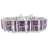 Purple Turquoise Link Bracelet Sterling Silver B5517-C07