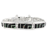 Black Opal Gemstone Link Bracelet Sterling Silver B5520-C27