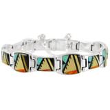 Multi Gemstone Link Bracelet Sterling Silver B5521-C02