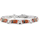 Multi Gemstone Link Bracelet Sterling Silver B5522-C24