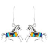 Horse Multi Gemstone Turquoise Earrings Sterling Silver E1053-C00B