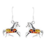Horse Multi Gemstone Earrings Sterling Silver E1053-C36