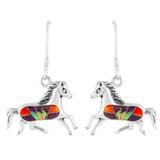 Horse Multi Gemstone Earrings Sterling Silver E1053-C37