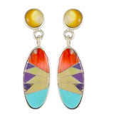Multi Gemstone Earrings Sterling Silver E1008-C00