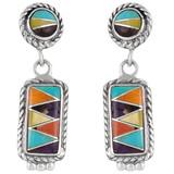 Multi Gemstone Earrings Sterling Silver E1118-C01