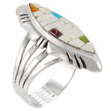White Shell Ring Sterling Silver R2023-C64