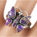 Butterfly Purple Turquoise Ring Sterling Silver R2037-C07