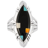 Black Shell Ring Sterling Silver R2023-C11