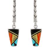 Multi Gemstone Earrings Sterling Silver E1165-C02