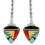 Multi Gemstone Earrings Sterling Silver E1166-C02