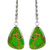 Green Turquoise Earrings Sterling Silver E1168-C76