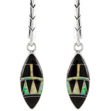 Black Opal Gemstone Earrings Sterling Silver E1171-C27