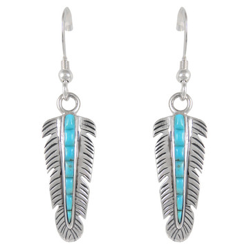 Sterling Silver Feather Earrings Turquoise E1016-C55