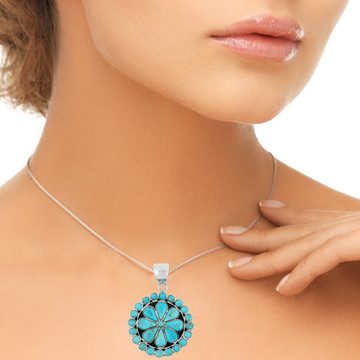 Sterling Silver Flower Pendant Turquoise P3060-C75