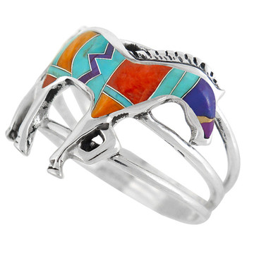 Horse Ring Sterling Silver Multi Gemstone R2018-C30