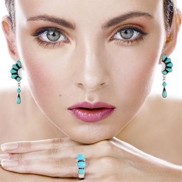 Sterling Silver Earrings Turquoise E1037-C75