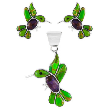 Sterling Silver Hummingbird Pendant & Earrings Set Multi Gemstones PE4019-C98