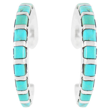 Sterling Silver Hoop Earrings Turquoise E1122-C05