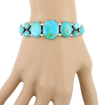 Turquoise Bracelet Sterling Silver B5491-C75