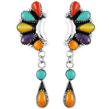 Sterling Silver Earrings Multi Gemstones E1037-C71