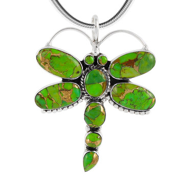 Sterling Silver Dragonfly Pendant Green Turquoise P3083-C76