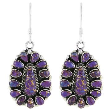 Sterling Silver Earrings Purple Turquoise E1034-C77