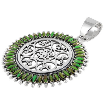 Sterling Silver Pendant Green Turquoise P3085-C76