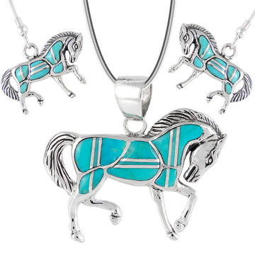 Sterling Silver Horse Pendant & Earrings Set Turquoise PE4016-C05