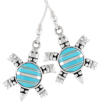 Sterling Silver Turtle Earrings Turquoise E1149-C05