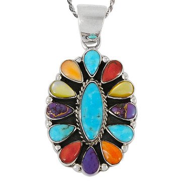 Sterling Silver Pendant Multi Gemstone P3099-C72