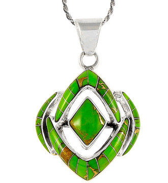 Sterling Silver Pendant Green Turquoise P3115-C06