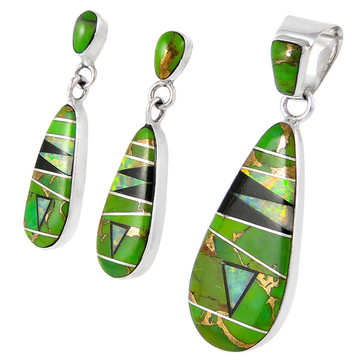 Sterling Silver Pendant & Earrings Set Green Turquoise PE4014-C22
